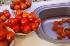 Natte tomaten voor pasteurisatie Stock Foto