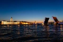 Natten överbryggar i St Petersburg royaltyfri foto
