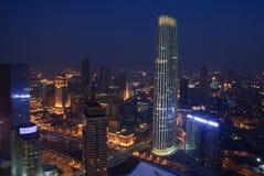 Natten av den Tianjin staden, Kina Arkivbild