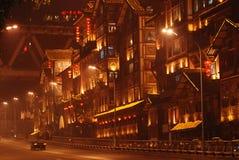 natten av det Chongqing klippahålet Royaltyfri Foto