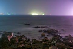 Natten av det lugna havet Royaltyfri Bild