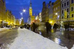 Natten beskådar av Gdansk. Fotografering för Bildbyråer