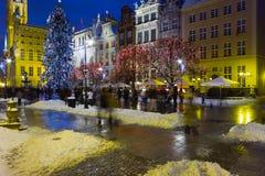 Natten beskådar av Gdansk. Arkivfoto