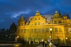 Natten beskådar av Gdansk. Arkivbilder