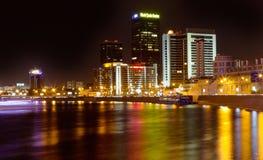 Natten beskådar av världshandel centrerar i Moscow Arkivbild