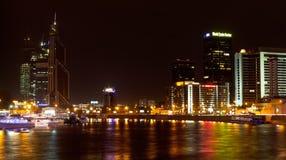 Natten beskådar av världshandel centrerar i Moscow Royaltyfri Bild