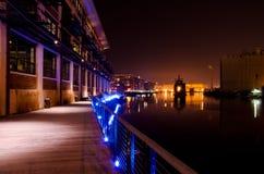 Natten faller på den Milwaukee floden Royaltyfri Foto