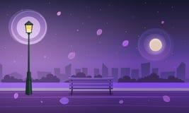 Natten i stad parkerar stock illustrationer