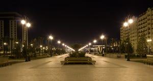 Natten parkerar Arkivfoto