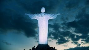 Natten sköt av Kristus Förlossarestatyn i Rio de Janeiro lager videofilmer