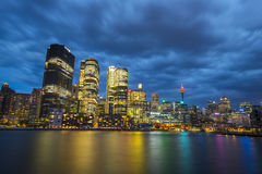 Nattetid av den Sydney staden Arkivfoton