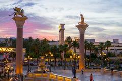 Nattetid i det Venetian i Las Vegas arkivbild