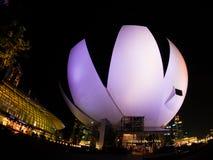 Nattetid på det ArtScience museet, Marina Bay Sands, Singapore-12 Fotografering för Bildbyråer