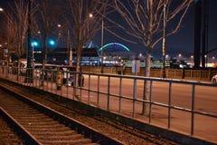 Nattetid på Seattle strand, Seattle, Washington Arkivfoton