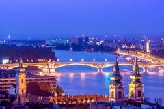 Nattetidsikt av Budapest Arkivbild