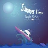 Nattfiske vektor illustrationer
