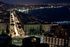 Nattfjärd av Naples Royaltyfria Bilder