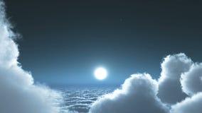 nattflyget för timelapse 4k i moln samlas, månen & himmelhimmel, yttre rymd för hög höjd royaltyfri illustrationer