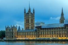 Nattfoto av hus av parlamentet, slott av Westminster, London, England Arkivfoto