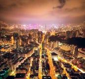 Nattgata i Kowloon, Hong Kong arkivfoto