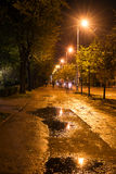 Nattgata med pölar i Riga under de ljusa ljusen Arkivfoton
