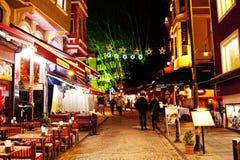 Nattgata nära Aya Sofia Royaltyfria Bilder