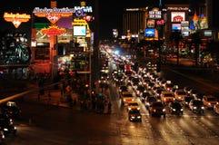Natt på den Las Vegas remsan Arkivfoto