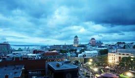 Natthändelse i gamla Quebec Fotografering för Bildbyråer