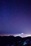 Natthimmel med stjärnor ovanför den Tenerife ön, kanariefågelöar Royaltyfri Foto