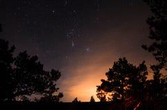 Natthimmel med stjärnor på Ladogaen royaltyfri foto