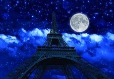 Natthimmel och Eiffeltorn stock illustrationer