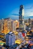 Natthorisont av Bangkok Royaltyfri Fotografi
