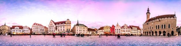 Natthorisont av den Tallinn staden Hall Square, Estland Arkivfoto