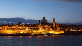 Natthyperlapse av Valletta, Malta lager videofilmer
