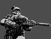 Nattjägare med anfallgeväret också vektor för coreldrawillustration Royaltyfria Foton