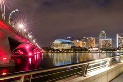 Nattkaj i Singapore Royaltyfria Foton