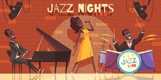 Nattklubb Jazz Background stock illustrationer