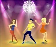 Nattklubb partier gyckel som har folk royaltyfri illustrationer