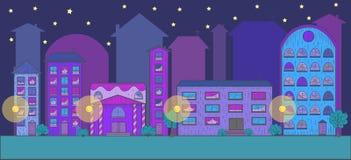 Nattklubbstad, vektordiagram Arkivbilder
