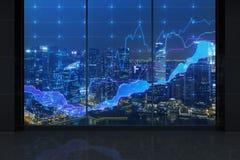 Nattkontor med diagrammet Fotografering för Bildbyråer