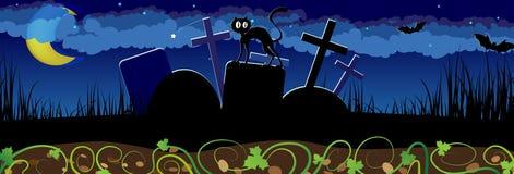 Nattkyrkogård och svart katt Royaltyfri Foto