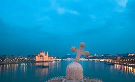 Nattlampor av Budapest Royaltyfria Foton