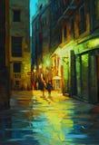 Nattlandskap i barcelona den gotiska fjärdedelen med regnet, målarfärg Arkivbild