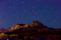 Nattlandskap i zionnationalpark Royaltyfri Fotografi