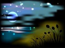 Nattlandskap med månen och stjärnor Arkivfoto