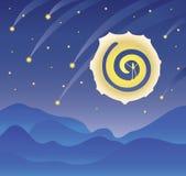 Nattlandskap, stjärnklar mörk himmel, en stor måne och fallande stjärnor, ett berglandskap också vektor för coreldrawillustration stock illustrationer
