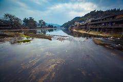 Nattlandskapet av den kinesiska bygden Arkivfoton