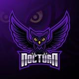 Nattlig design för logo för fågelugglamaskot royaltyfri illustrationer