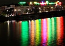 Nattljus över sjöarna, Köpenhamnstad Arkivbild