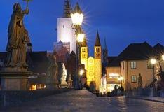 Nattljus av den gamla staden Royaltyfria Foton
